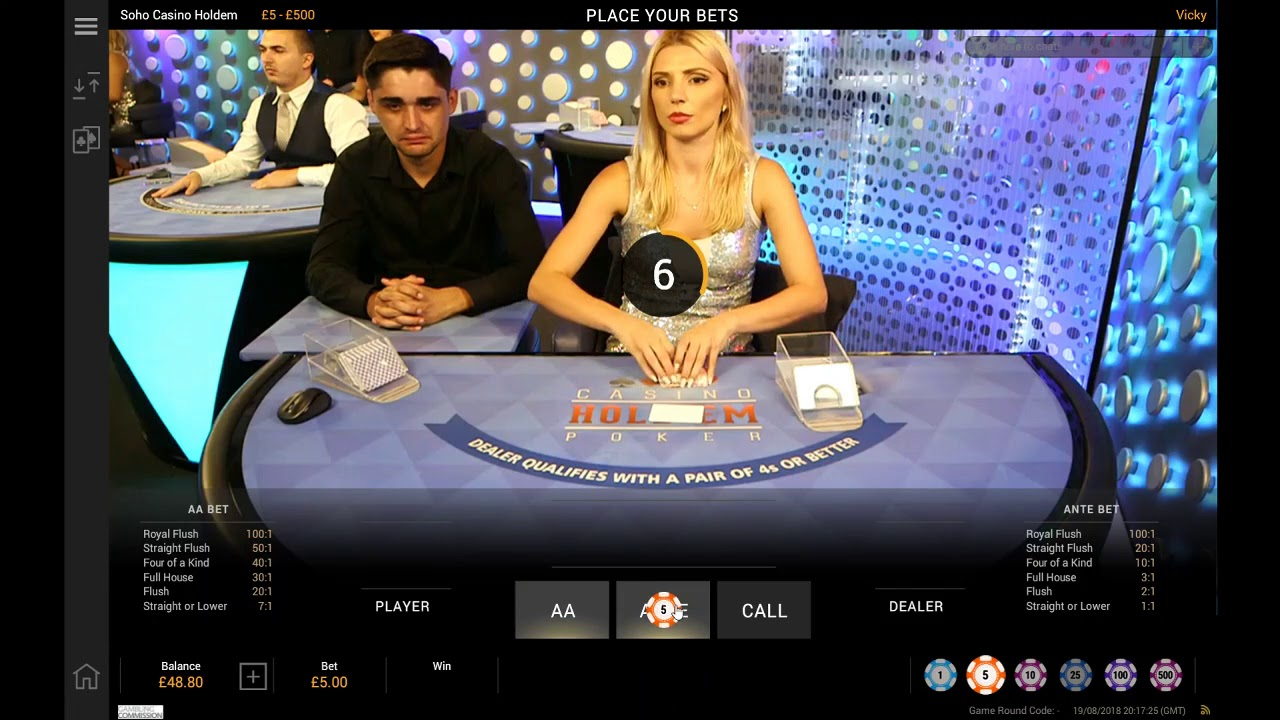 William Hill Live-Dealer Casino Hold'em® SOHO™ Power by Playtech. Invented by Stephen Au-Yeung.